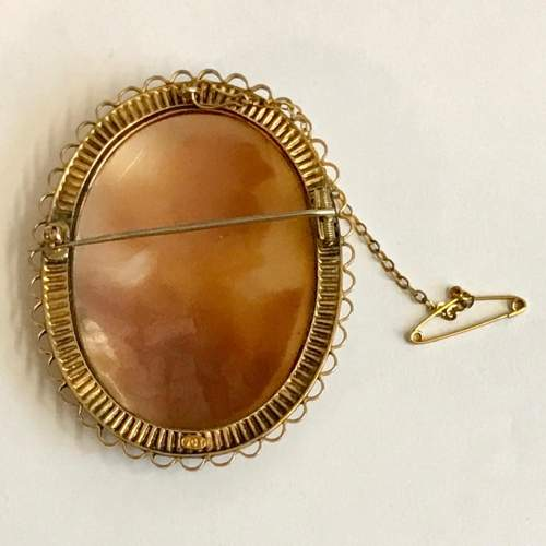 Edwardian 9ct Gold Shell Cameo Brooch image-4