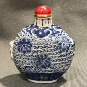Large 19th Century Blue and White Snuff Bottle