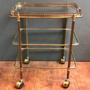 1950s French Brass and Glass Trolley