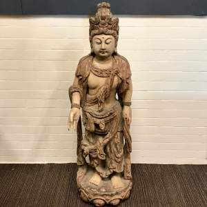 Large Chinese Polychrome Wood Carving Of Guanyin