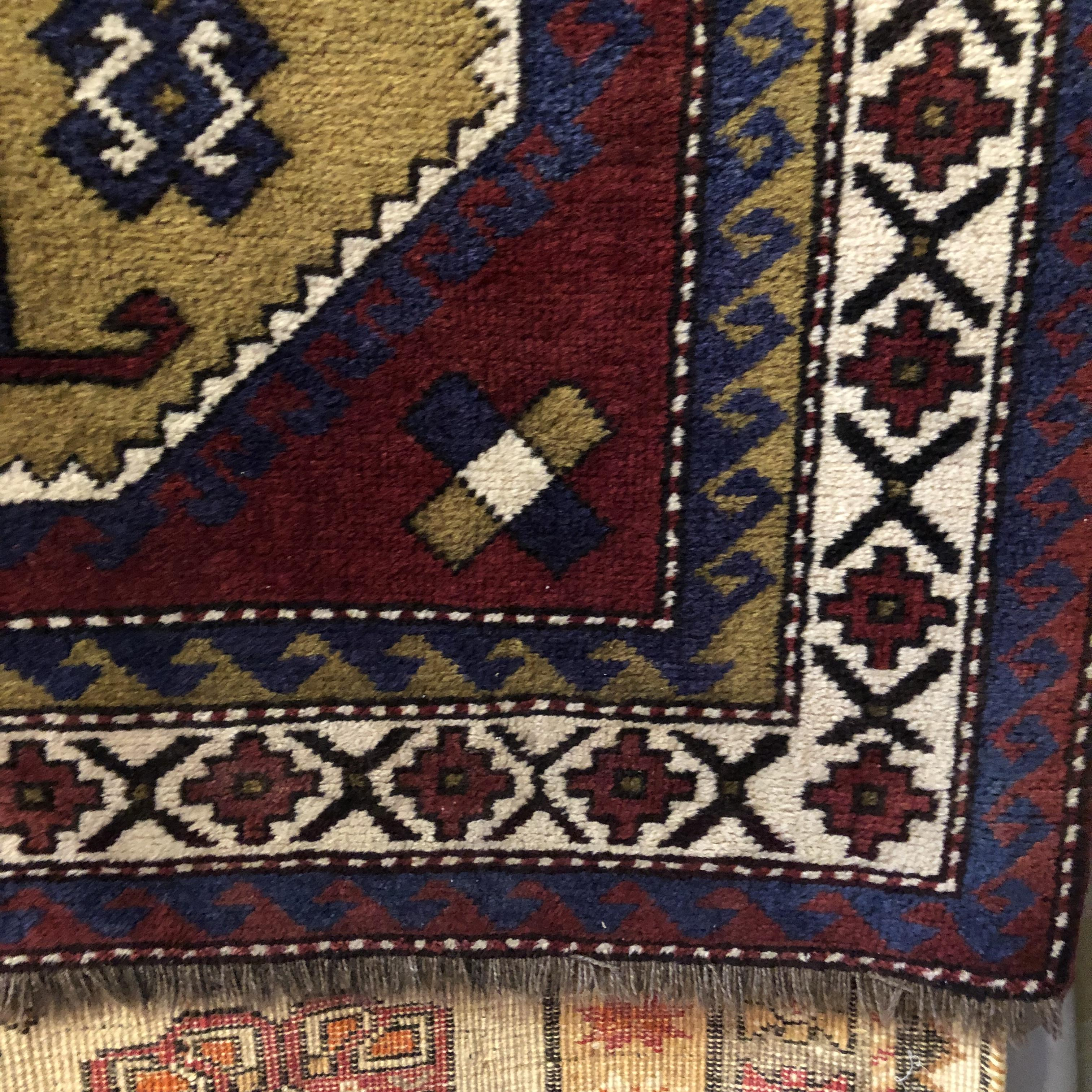 London Antique Rug Textile Art Fair: Old Hand Knotted Afghan Rug Double Medalion Design