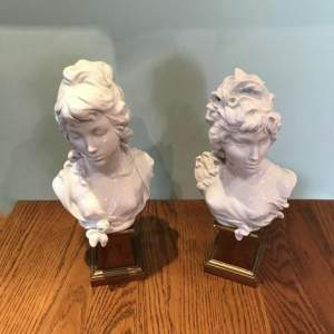 Pair of Royal Worcester Busts of Day and Night