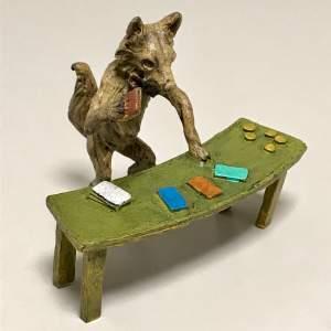 Rare Cold Painted Austrian Bronze Fox Croupier