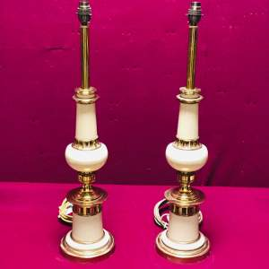 Pair of 20th Century Brass and White Lamps