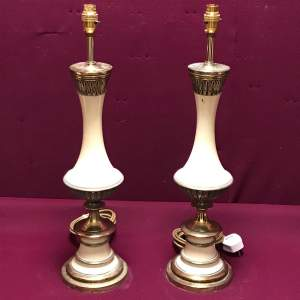 Pair of 20th Century Brass and White Shabby Chic Lamps