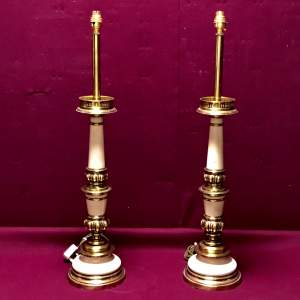 Pair of 20th Century Very Tall Brass and White Lamps