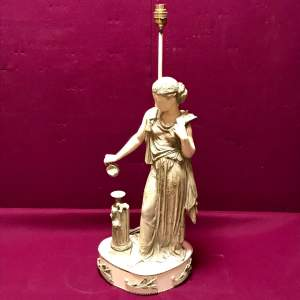 20th Century Painted Spelter Figural Lamp