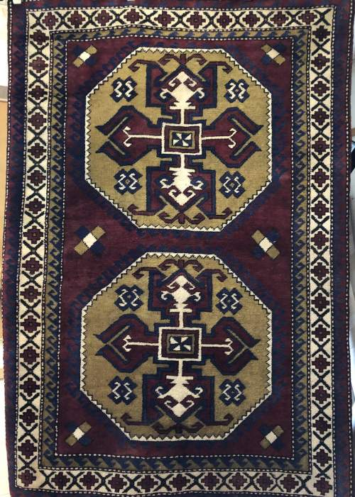 Old Hand Knotted Afghan Rug Double Medalion Design image-6