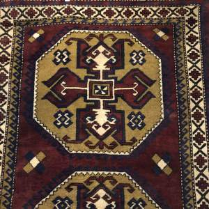 Old Hand Knotted Afghan Rug Double Medalion Design