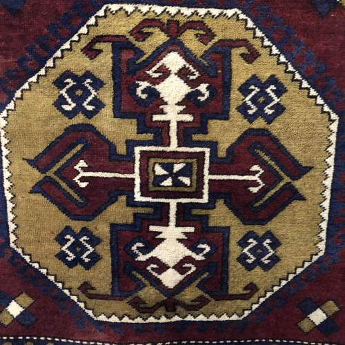 Old Hand Knotted Afghan Rug Double Medalion Design image-2