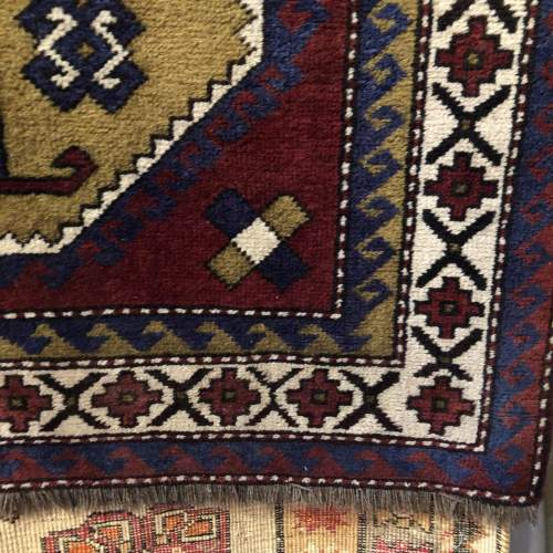Old Hand Knotted Afghan Rug Double Medalion Design image-3