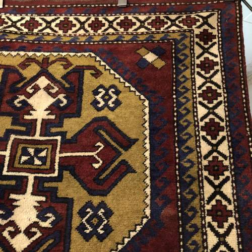 Old Hand Knotted Afghan Rug Double Medalion Design image-4