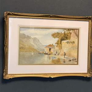 Landscape Watercolour of a Lake Scene
