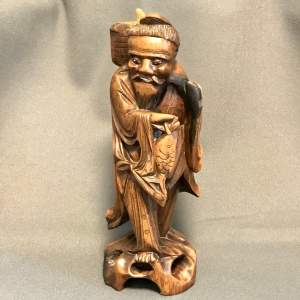 Chinese Carved Hardwood Fisherman