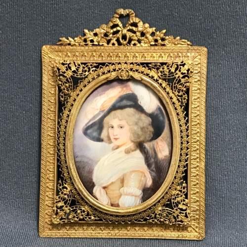 Antique Portrait Miniature of Lady Halled image-1