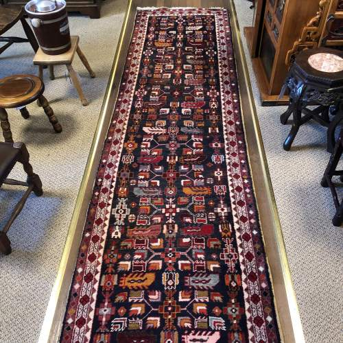 Superb Old Hand Knotted Kurdish Runner Rug Very Unusual Piece image-2