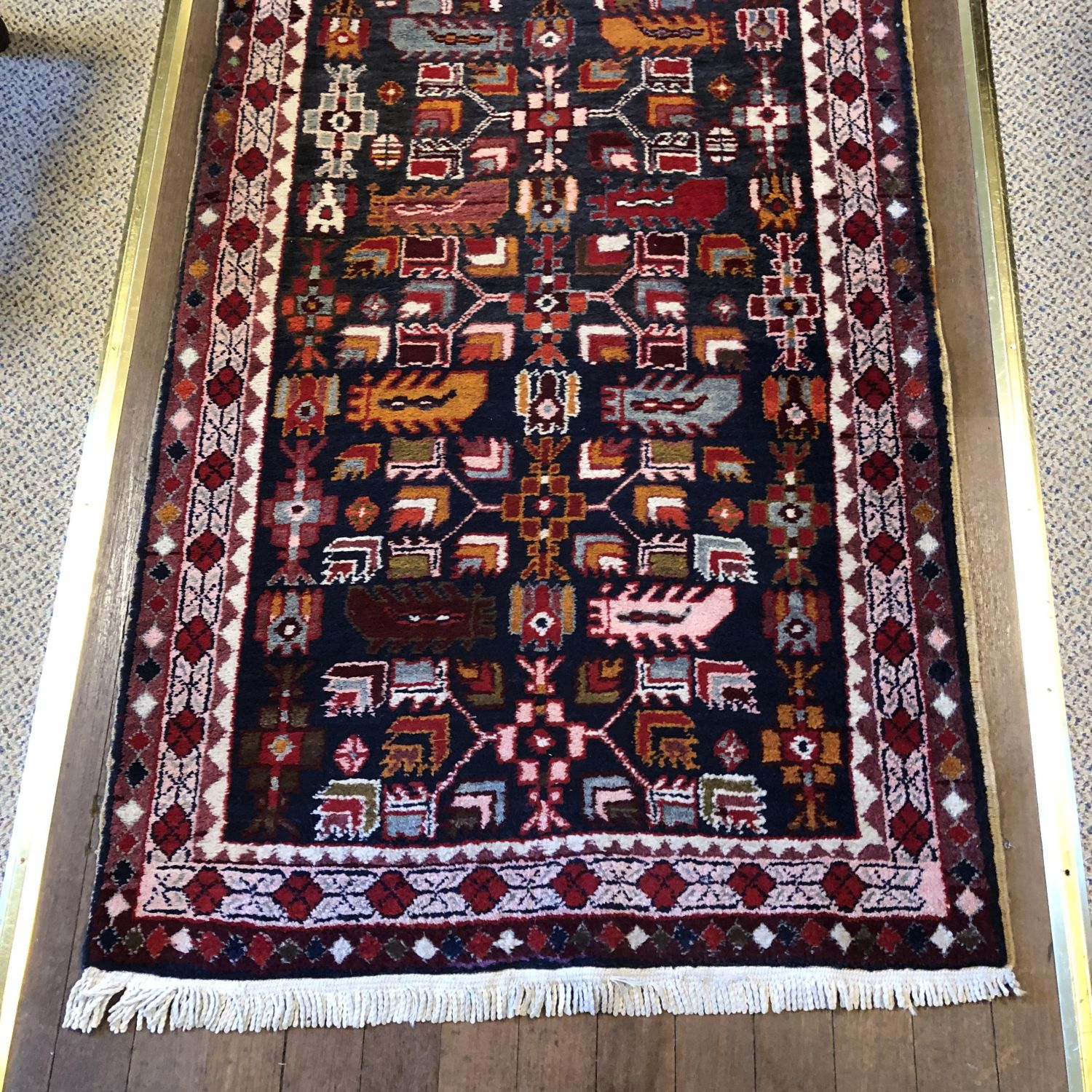 Old Hand Knotted Kurdish Runner Rug