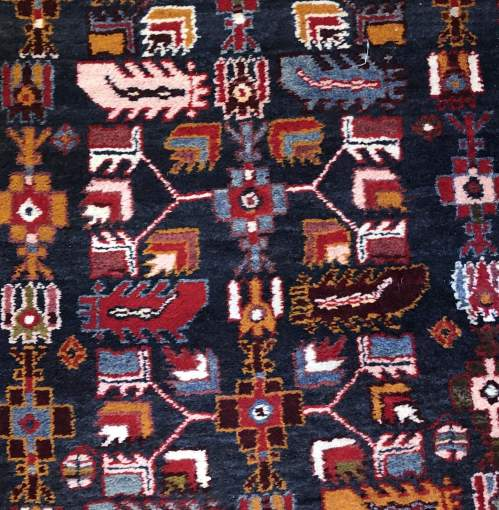 Superb Old Hand Knotted Kurdish Runner Rug Very Unusual Piece image-5
