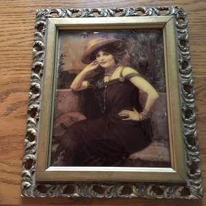 Ornate Gilt Wood Framed Crystoleum of a Seated Young Woman