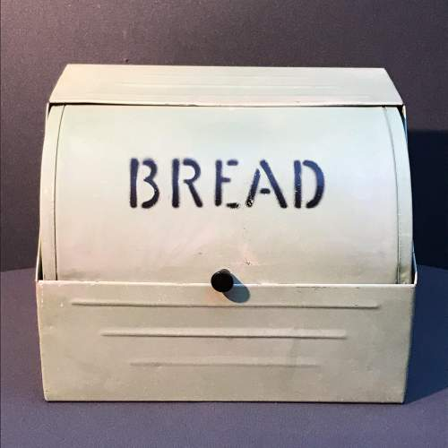 Vintage Green Enamel Coated Bread Bin image-1