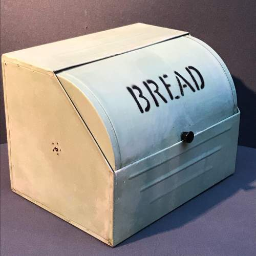 Vintage Green Enamel Coated Bread Bin image-2