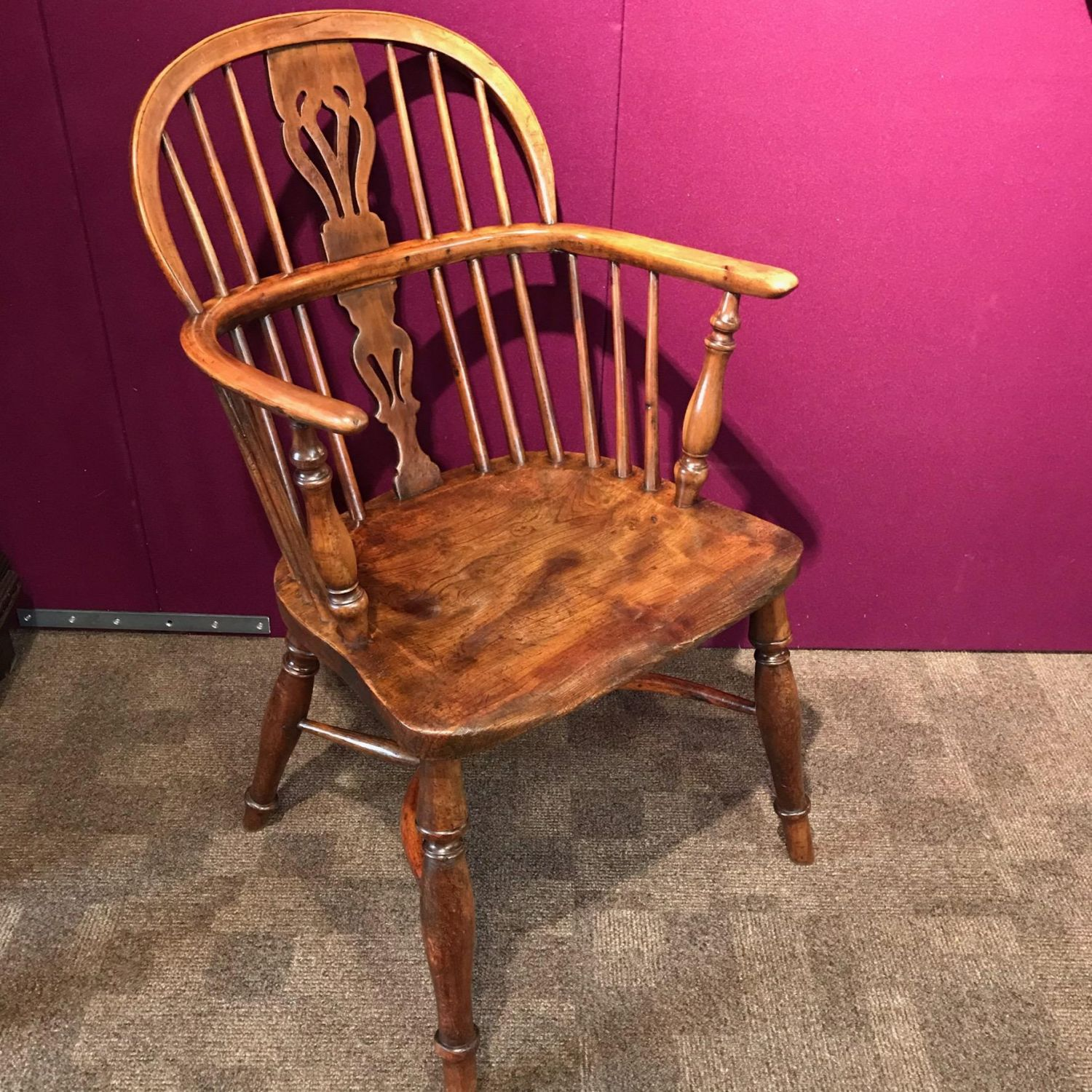 Antique Windsor Chairs Dining: 19th Century Yew And Elm Windsor Chair