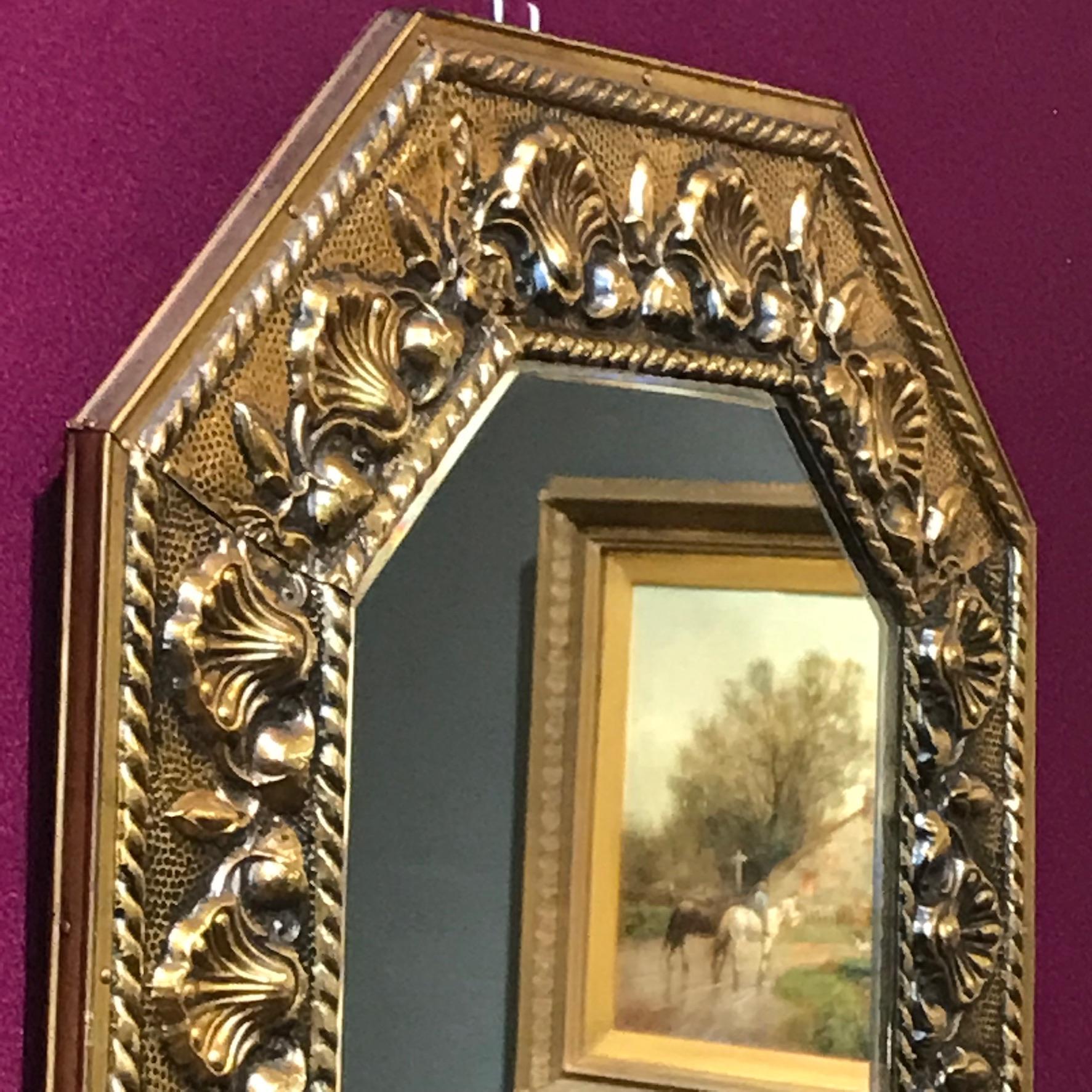 Decorative Brass Framed Bevelled Edge Wall Mirror ...