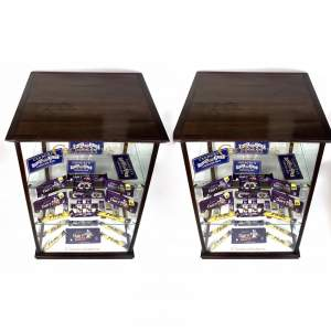 Pair of Cadburys Chocolate Mahogany and Glass Display Cabinets