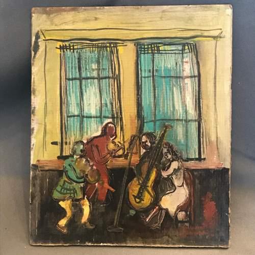 Alexander Bauernfreund Oil on Card of the Quartet image-1