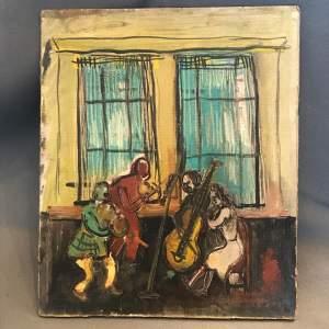 Alexander Bauernfreund Oil on Card of the Quartet