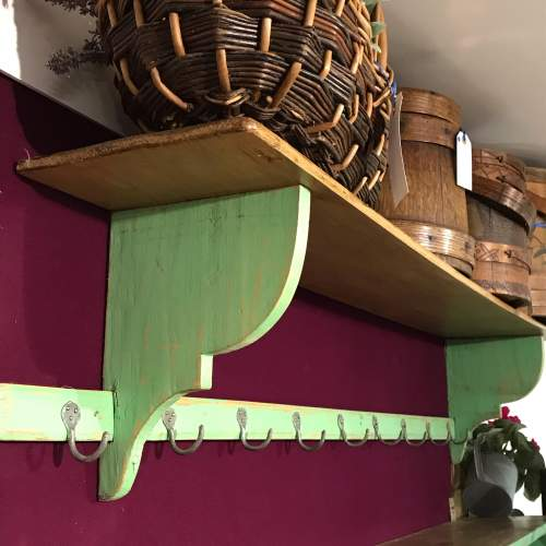 1930s Vintage French Green Painted Pine Pot Shelf image-1