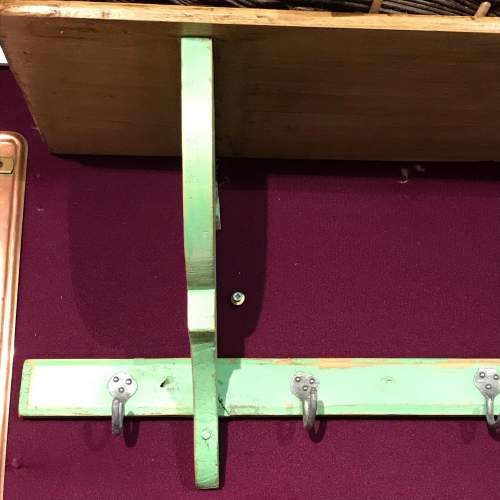 1930s Vintage French Green Painted Pine Pot Shelf image-4