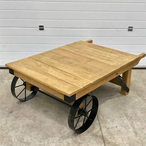 Vintage Industrial Trolley Coffee Table image-1