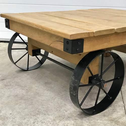 Vintage Industrial Trolley Coffee Table image-2