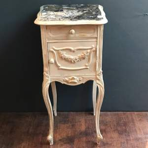 French Rococo Marble Top Bedside Cabinet