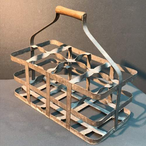 French Eight Hole Galvanised Wine Carrier image-1