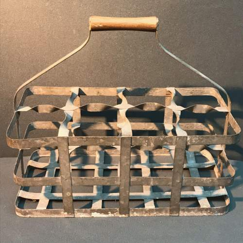 French Eight Hole Galvanised Wine Carrier image-2