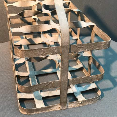 French Eight Hole Galvanised Wine Carrier image-3