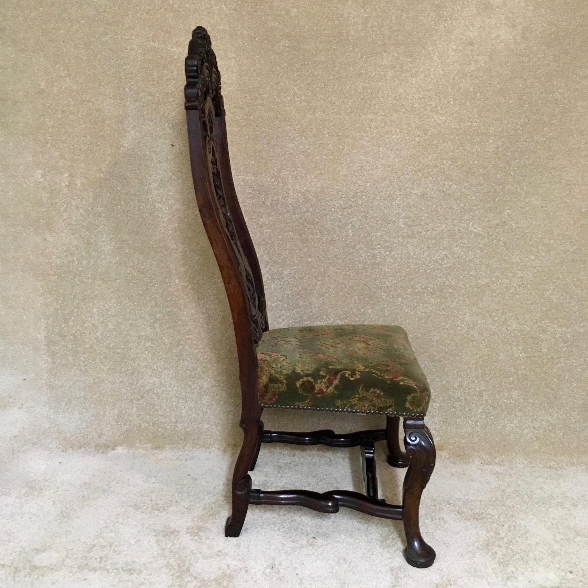 Antique Looking Chairs: 19th Century Walnut Carolean Style High Back Chair
