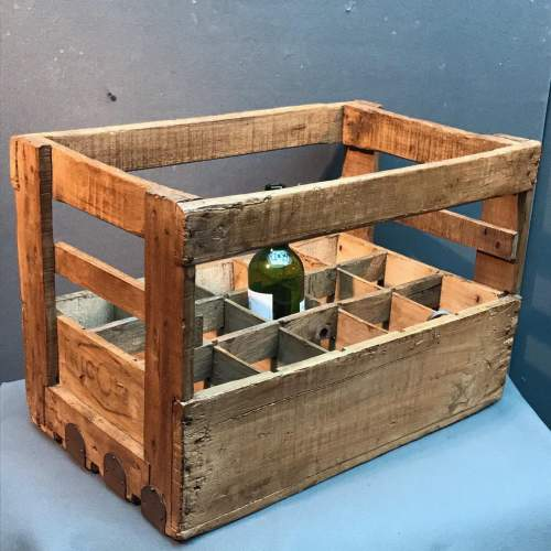 Vintage French Wooden Wine Bottle Crate image-1