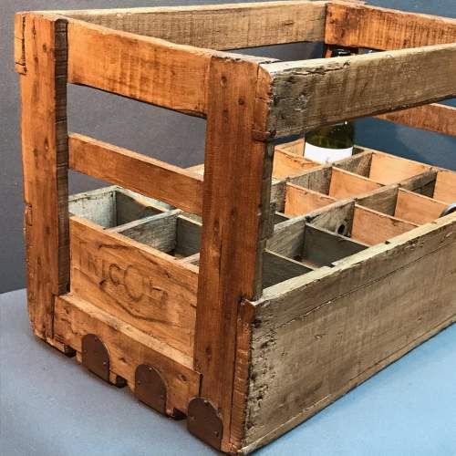 Vintage French Wooden Wine Bottle Crate image-2