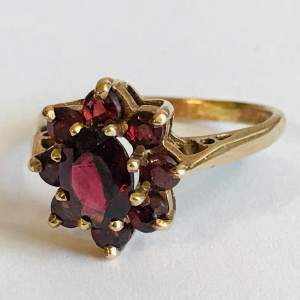 Garnet Cluster 9ct Gold Ring