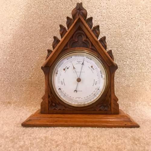 Late 19th Century Oak Lancet Desk Barometer image-1
