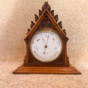 Late 19th Century Oak Lancet Desk Barometer