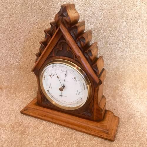 Late 19th Century Oak Lancet Desk Barometer image-2