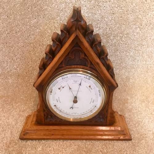Late 19th Century Oak Lancet Desk Barometer image-3