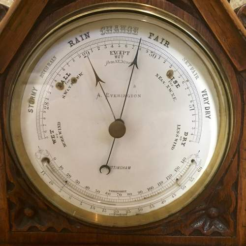 Late 19th Century Oak Lancet Desk Barometer image-4