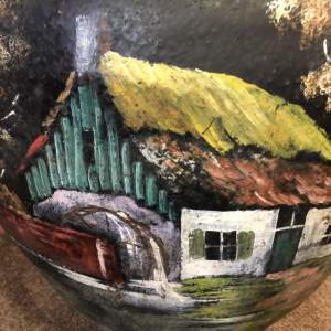 Unusual French Hand Painted Pot