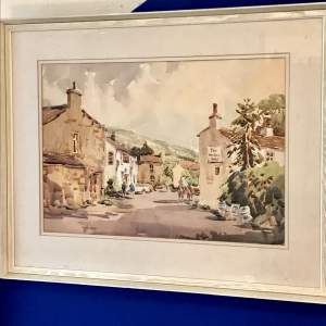 Large Watercolour of Kettlewell by Yorkshire artist Angus Rands