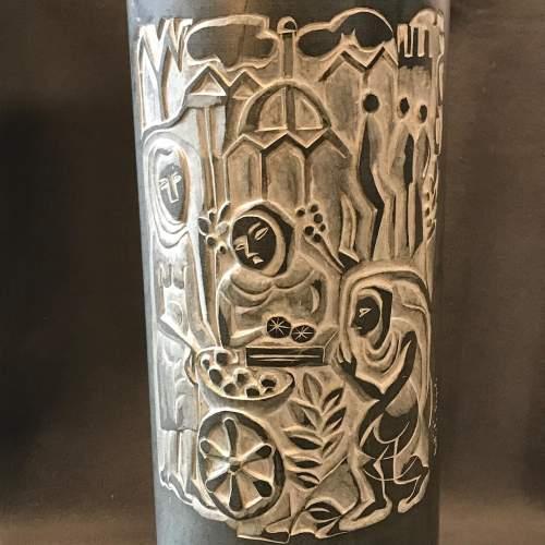 Large Slate Cylinder Vase With Carved Figure Decoration by Mattiali Bagialo image-2